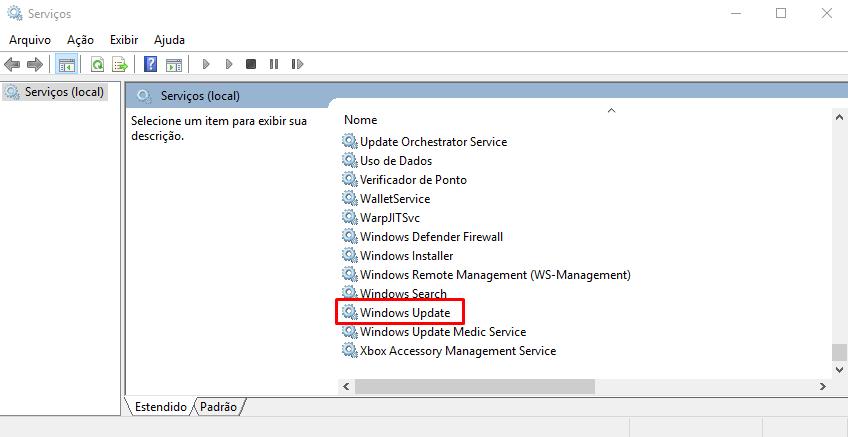 desativar windows update