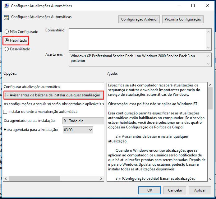 aviso de atualizações no windows