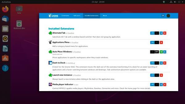 extensões do gnome shell no ubuntu
